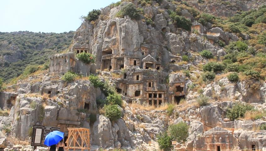 Rock-cut Tombs in Myra, Lycia, Turkey-2