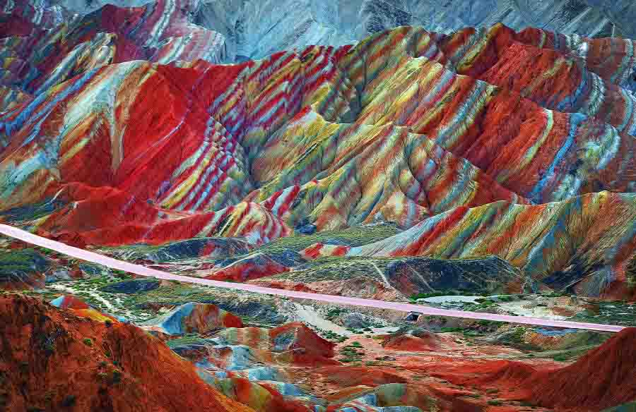 """View of colourful rock formations at the Zhangye Danxia Landform Geological Park in Gansu Province, China, 22 September 2012."""